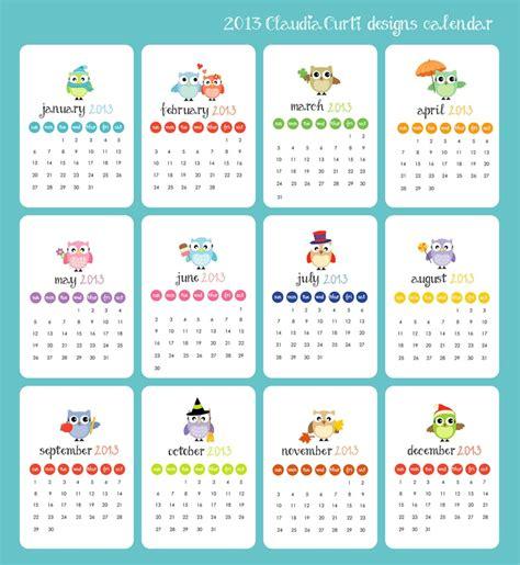 Small Hanging Desk Calendar 2013 Calendar Owl Designs Desk Calendar Wall Hanging