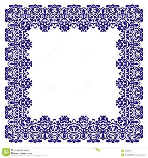 border pattern motif border with swirls floral motif frame stock vector