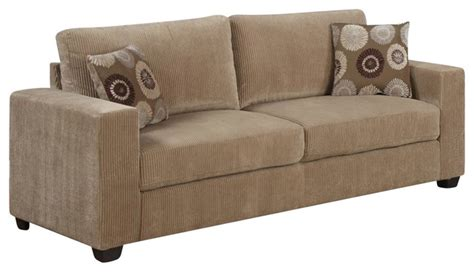 corduroy sofas homelegance paramus sofa with 2 pillows in neutral tone
