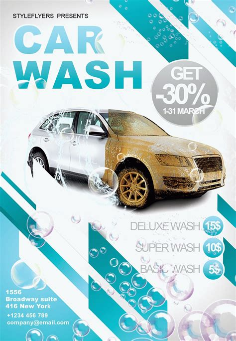 Free Car Wash Business Card Template Psd by Car Wash Psd Flyer Template Style Flyers Psd Templates