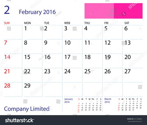 desktop calendar february 2016 template paper stock vector
