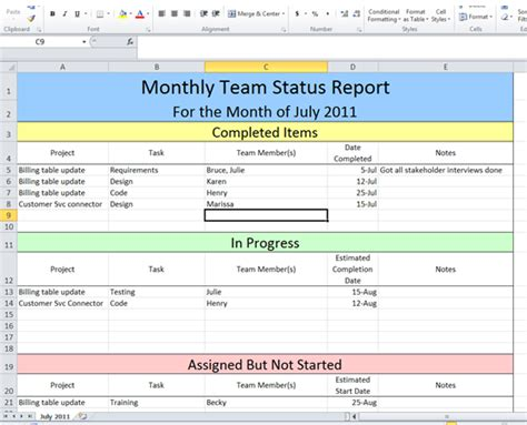 status report excel template project status report template excel on behance