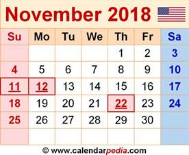 Calendar 2018 Png File November 2018 Calendars For Word Excel Pdf