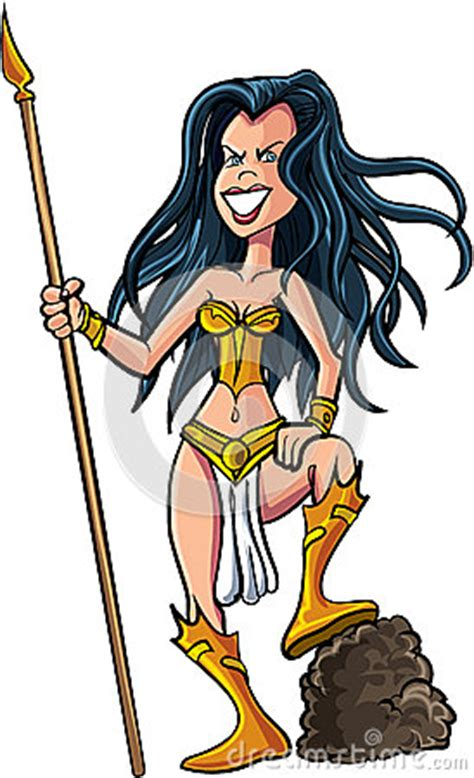 cartoon female warrior stock illustration image