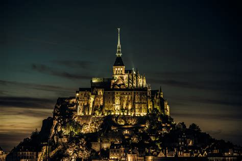 france normandy mont saint michel island castle wallpaper