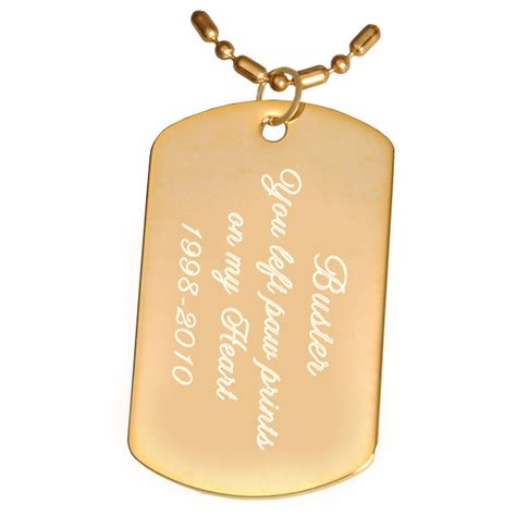 gold tags hanging pet tags engraved gold plated tag pendant with chain or keyring