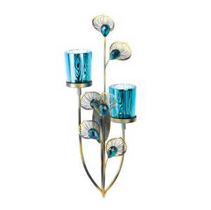 Candle Holder Wall Sconces Blue Peacock Feather Plume Wall Sconce Candle Holder