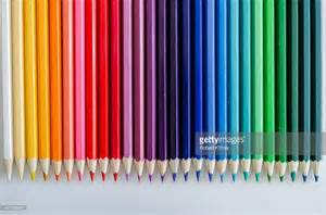 colored pencils in arrangement of colored pencils stock photo getty images