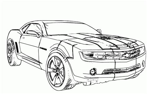 simple super car chevrolet camaro coloring page cool car