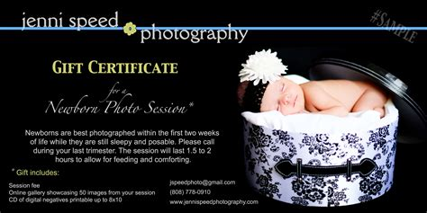 gift certificate sle nb jenni speed photography