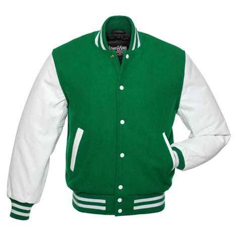College Letter Jackets green wool and white leather letterman jacket c106
