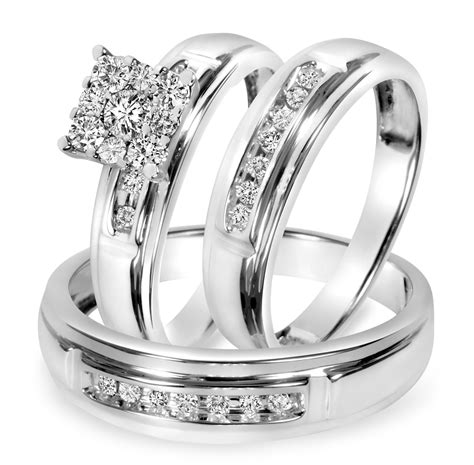 Silver Wedding Ring Trio Sets
