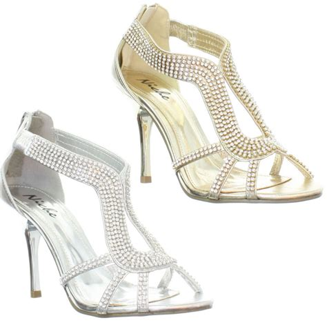 gold strappy mid heel sandals womens mid heel diamante embellished strappy silver gold