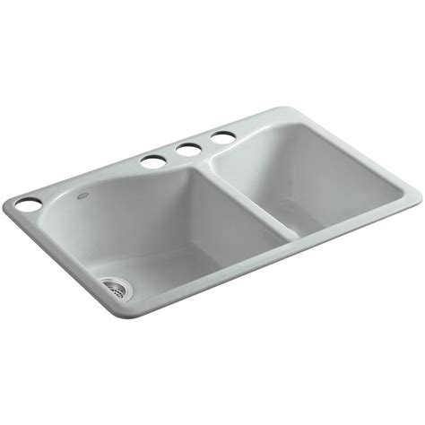 Kohler Cast Iron Kitchen Sinks Kohler Brookfield Undermount Cast Iron 33 In 5 Bowl Kitchen Sink In White Rh5846 5u
