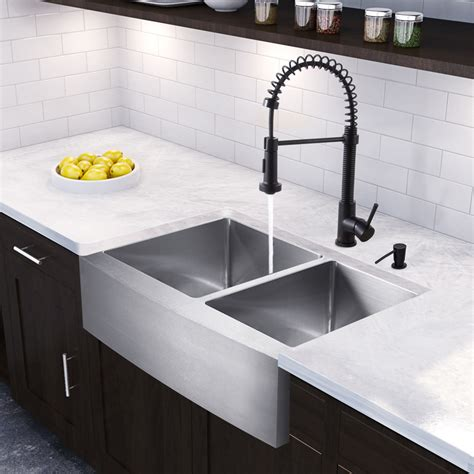 vigo 33 inch farmhouse stainless steel kitchen sink vigo 33 inch farmhouse apron 60 40 bowl 16