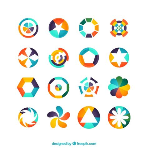 colorful geometric logos vector free