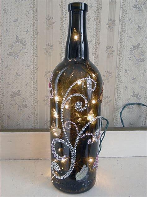 diy light up wine bottle rhinestone and glitter butterflies lighted wine bottle