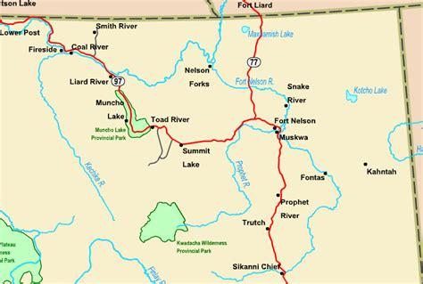 printable bc road map regional map of northeastern bc