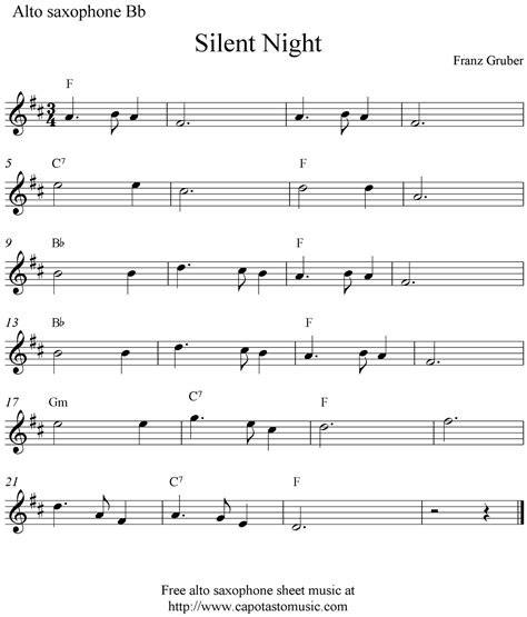 free printable sheet music alto sax silent night free christmas alto saxophone sheet music notes