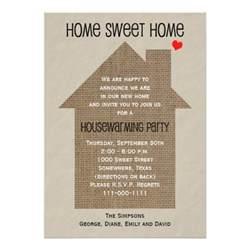 housewarming invitation burlap house 5 quot x 7 quot invitation card zazzle
