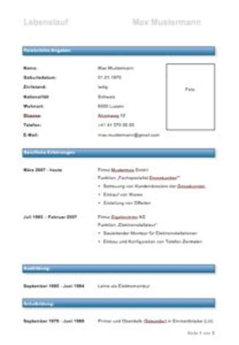 Lebenslauf Vorlage Modern Schweiz Lebenslauf Muster Und Vorlagen Muster Und Vorlagen Kostenlos