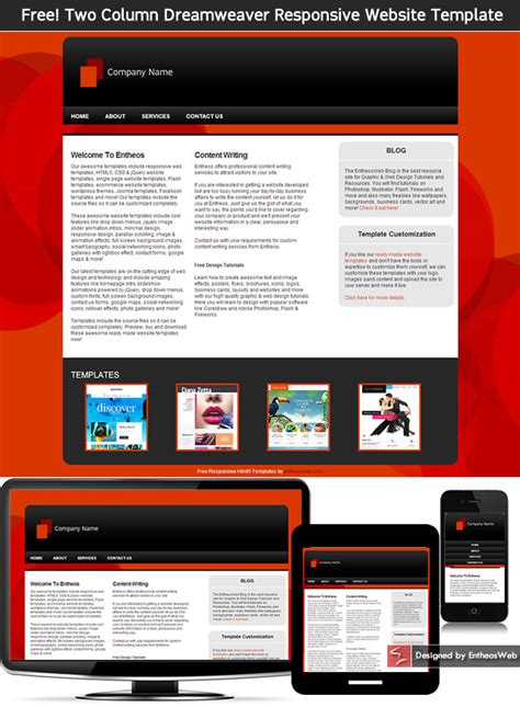 Free Two Column Dreamweaver Responsive Website Template Entheos Dynamic Responsive Website Templates Free