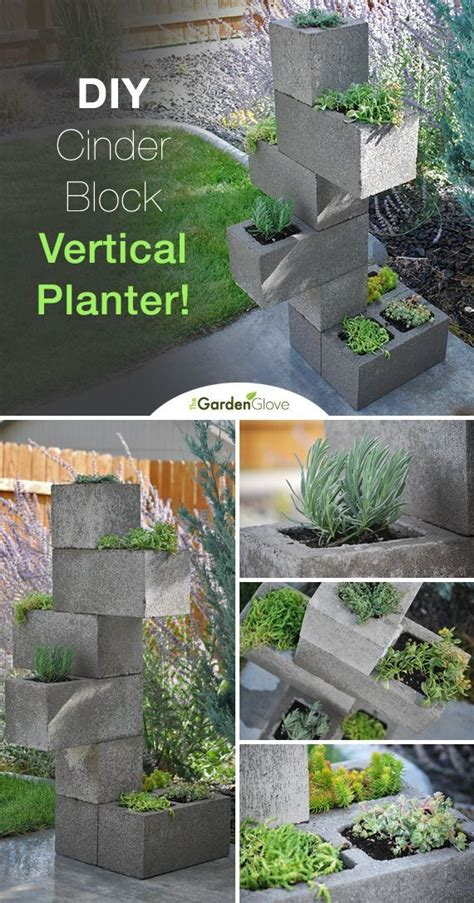 vertical planter cinder blocks and step by step instructions on pinterest