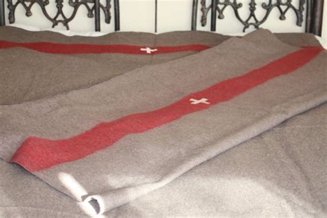 Swiss Army Brown Cover Angka White wool swiss army blanket cross in white with stripes