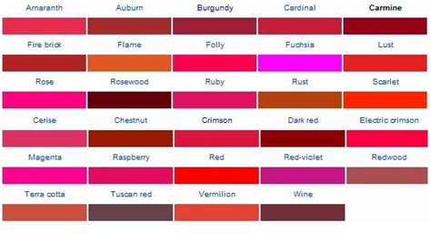 shades of red names color names red gold and search on pinterest