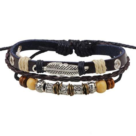 Leather Bracelet Handmade - handmade pu leather bracelet black tribal leaf