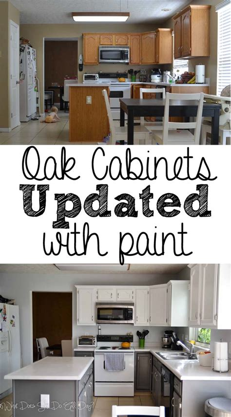 painting oak kitchen cabinets before and after painted kitchen cabinets before and after what does she