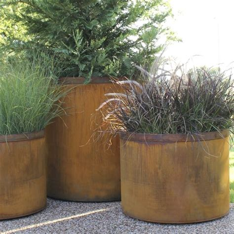 metal planters outdoor outdoor planter large planters steel cor ten