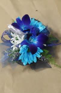Wrist Corsage For Prom Blue Dendro Orchids Amp Blue Daisies White Hyacinths Wrist Corsage For Prom Or Weddings Created