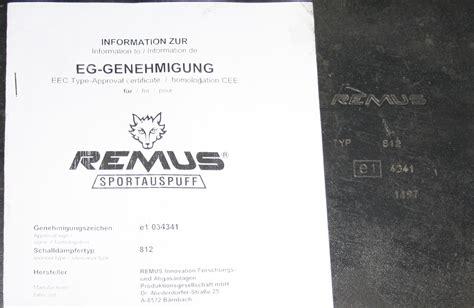 Motorrad Auspuff E Nummer Tüv by E Nummer Remus Dtm Endschalld 228 Mpfer Esd Biete 205762965
