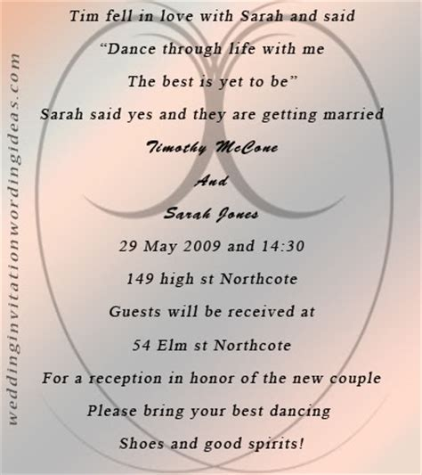unique wording for wedding reception invitations fairytale wedding invitation wording and design