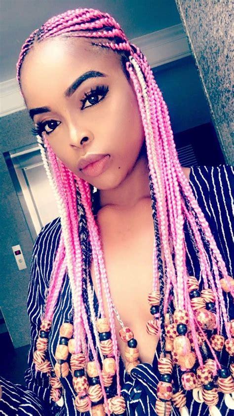 hair styles pin interest pink tribal braids with beads unicorn braids