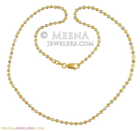 chain pattern in gold two tone ball chain 22 karat chfc10484 22k gold two
