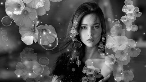girl front flowers hairs style  wallpapers el tony