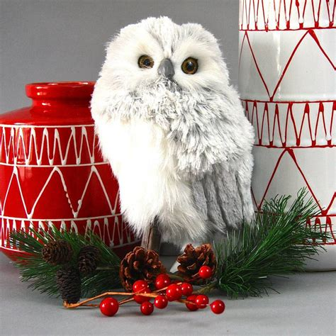 snowy owl christmas decoration by london garden trading