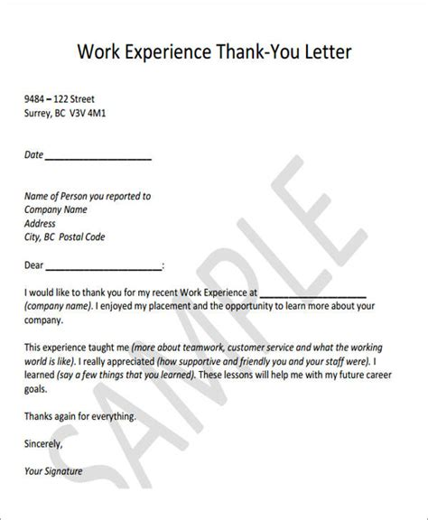 thank you letter for work exle gallery of work exp letter