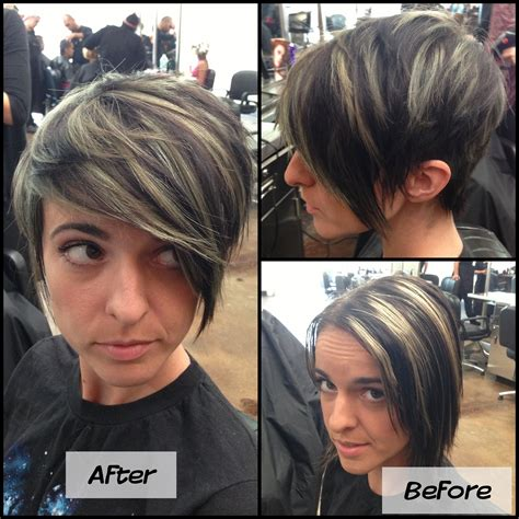 how to highlight a pixie cut refreshed mint green highlight pixie cut before and