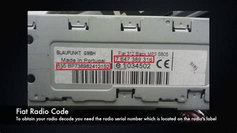 fiat radio codes  serial number ac bp cm punto