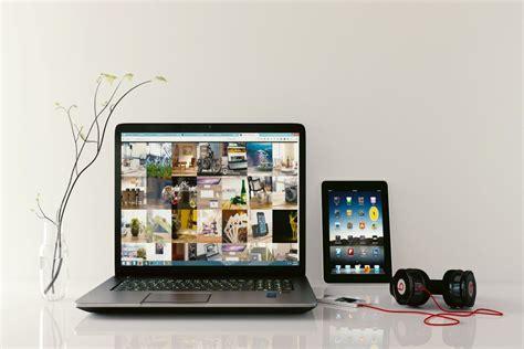 ipad laptop beats headphones  stock photo negativespace