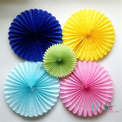 paper fan circle decorations 16inch decoration fan tissue honeycomb fan buy