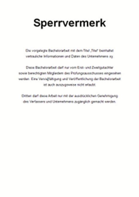 Zweite Mahnung Englisch Muster Sperrvermerk Vertraulichkeitserkl 228 Rung F 252 R Die Bachelorarbeit