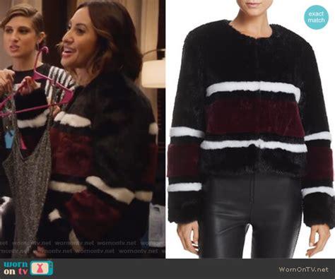 Raisa Jacket wornontv s striped fur jacket on grown ish francia raisa clothes and wardrobe from tv