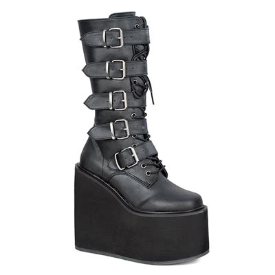 demonia swing 101 demonia swing 220 black buckle platform boots