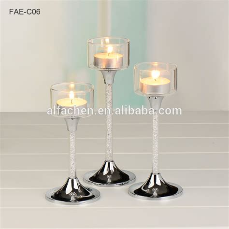 Tiered Glass Candle Holders 3 Tier Glass Stemmed Glass Sliver Candle Holder