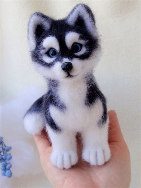 mini husky puppies hasya siberian husky puppy felted miniature ooak wool artist work