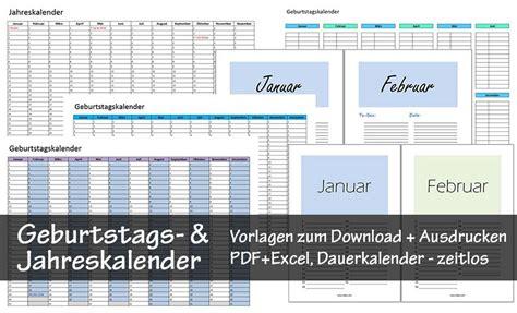 Kostenlose Vorlagen Excel kostenlose geburtstagskalender zum ausdrucken pdf excel